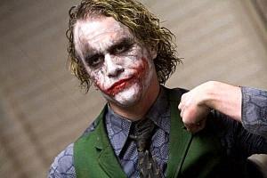 Heath Ledger as The Joker in the movie The Dark Knight